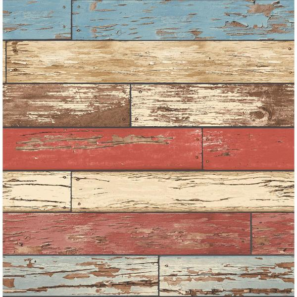 Levi Red Scrap Wood Red Wallpaper Sample