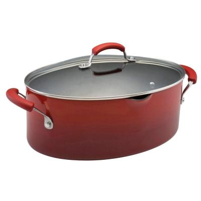 Classic Brights 8 qt. Aluminum Nonstick Stock Pot in Cranberry Red Gradient with Glass Lid