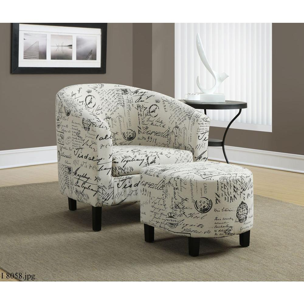 Beautiful Monarch Specialties White Arm Chair With Ottoman