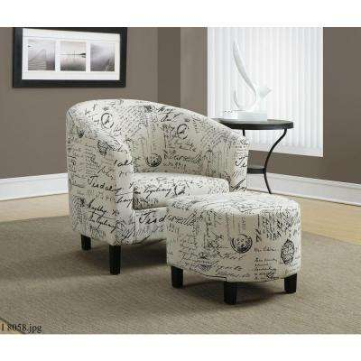 White Arm Chair with Ottoman