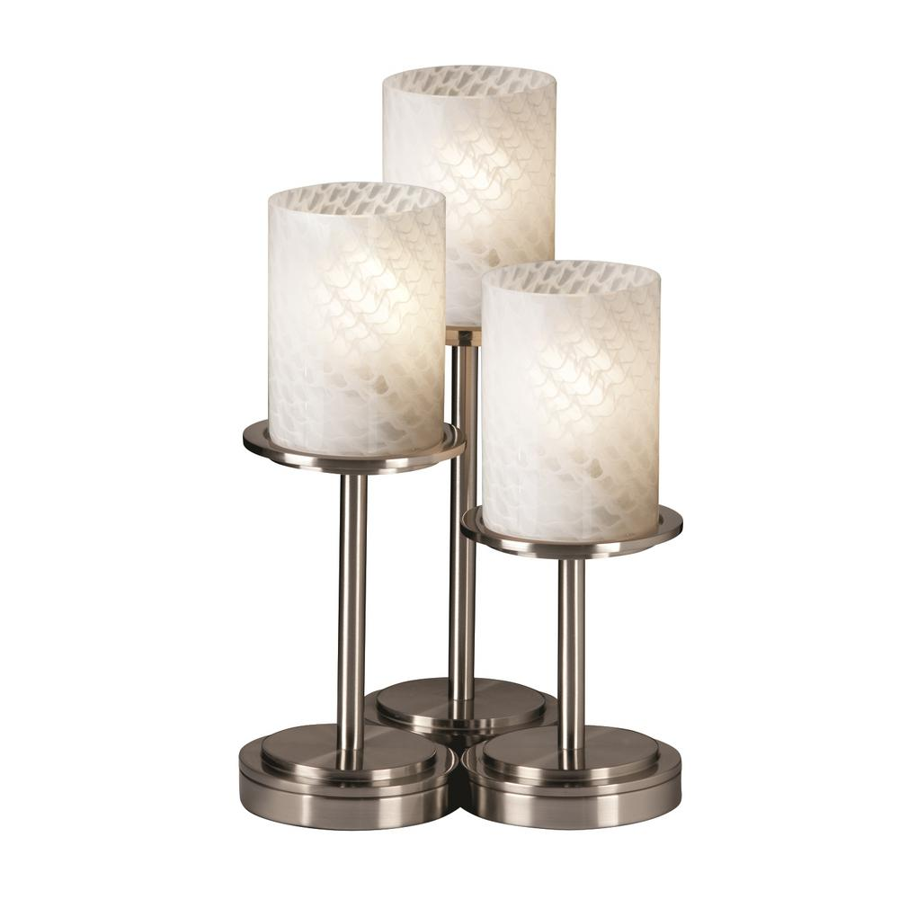 Justice Design Fusion Dakota 3-Light 16 in. Brushed Nickel Table Lamp with Weave Shade