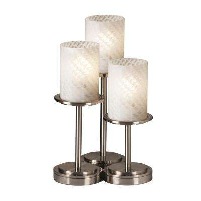 Fusion Dakota 3-Light 16 in. Brushed Nickel Table Lamp with Weave Shade