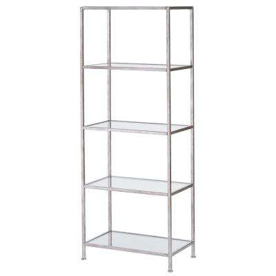 Bella Aged 40 in. Wide Silver Glass Bookcase