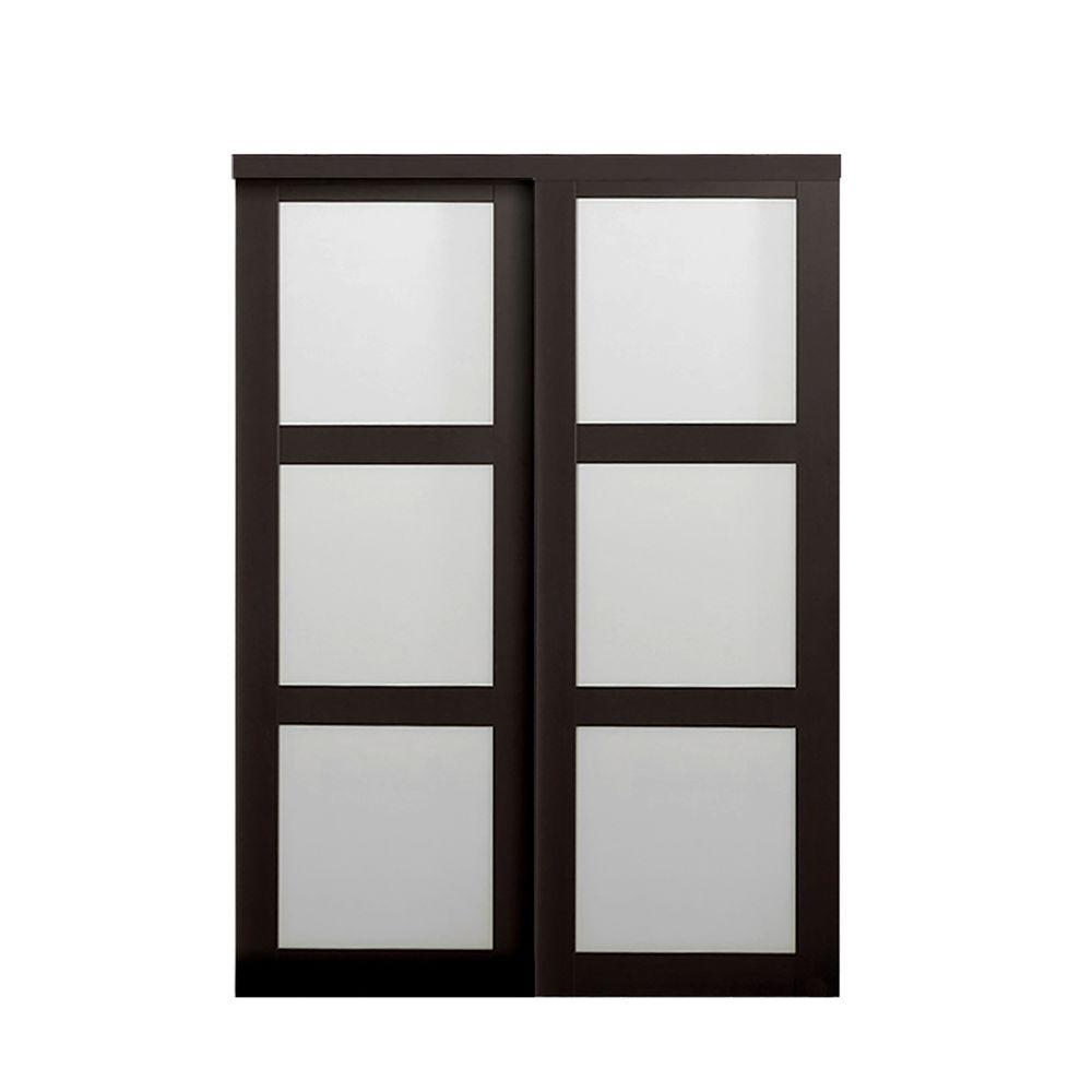 Truporte 60 in x 80 in 2290 series espresso 3 lite for Modern glass pocket doors