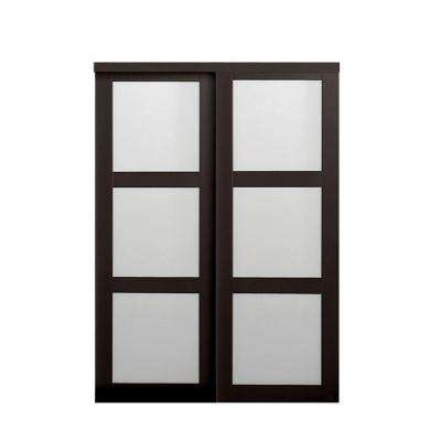 Sliding doors interior closet doors the home depot 2290 series composite espresso 3 lite tempered frosted glass sliding door planetlyrics Images