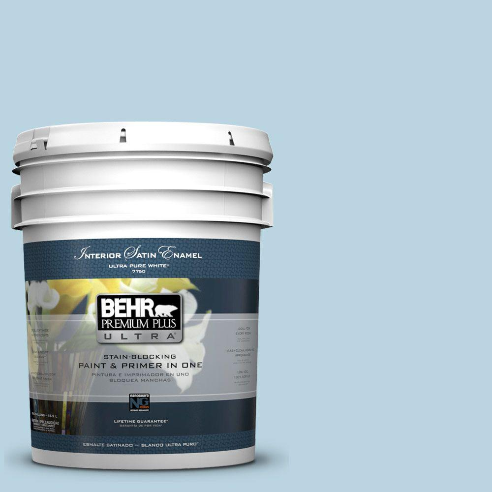 BEHR Premium Plus Ultra 5 gal. #PPU14-16 Millstream Satin Enamel Interior Paint and Primer in One