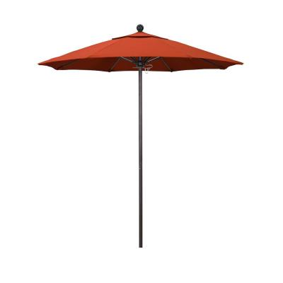 7.5 ft. Market Bronze Fiberglass Pulley Open Patio Umbrella in Sunset Olefin