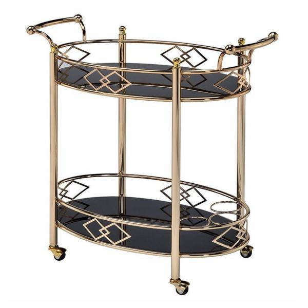 Oval Bar Cart Metal Frame//Tempered Glass Top and Shelf Antique Gold Finish