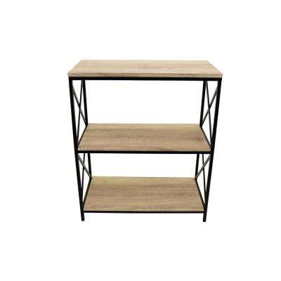 Brown Wood/Metal Book Shelf