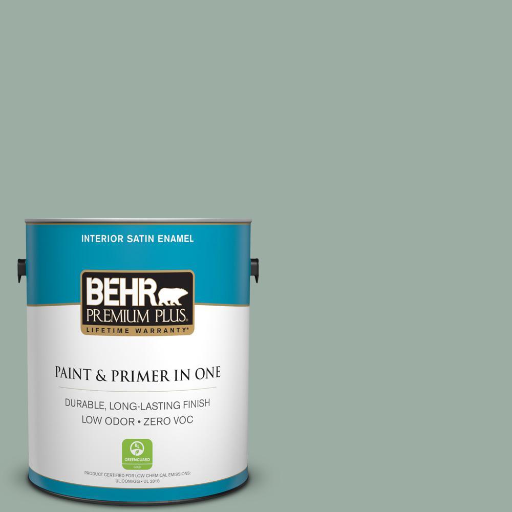 BEHR Premium Plus 1-gal. #N420-3 Misty Moss Satin Enamel Interior Paint