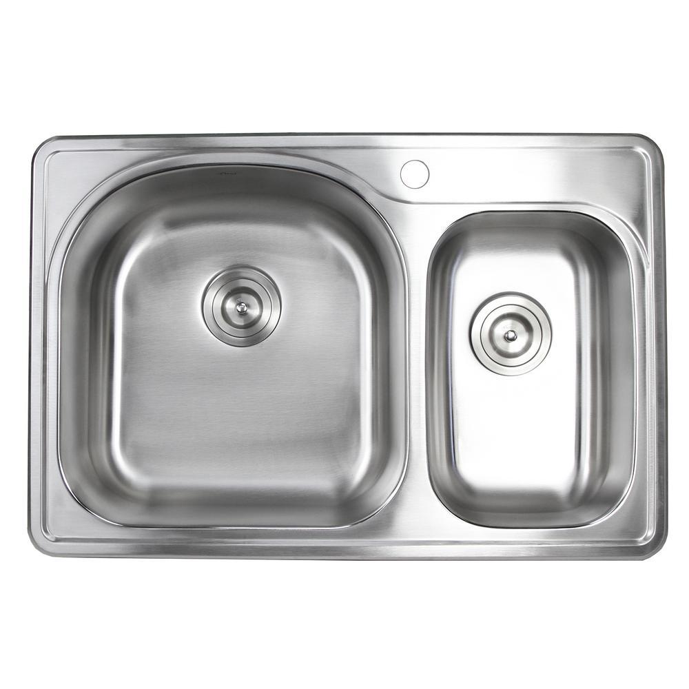 Topmount Drop-In 18-Gauge Stainless Steel 33 in. x 22 in. x 8-1/4 in. Deep 1-Faucet Holes Double Bowl 70/30 Kitchen Sink