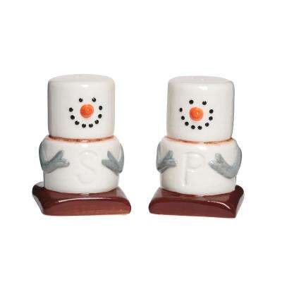 Smores 2 oz. White Ceramic Salt and Pepper Shakers with Figural Shapes