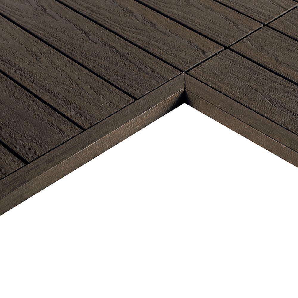 1/6 ft. x 1 ft. Quick Deck Composite Deck Tile Inside End Corner Fascia in Spanish Walnut (2-Pieces/box)