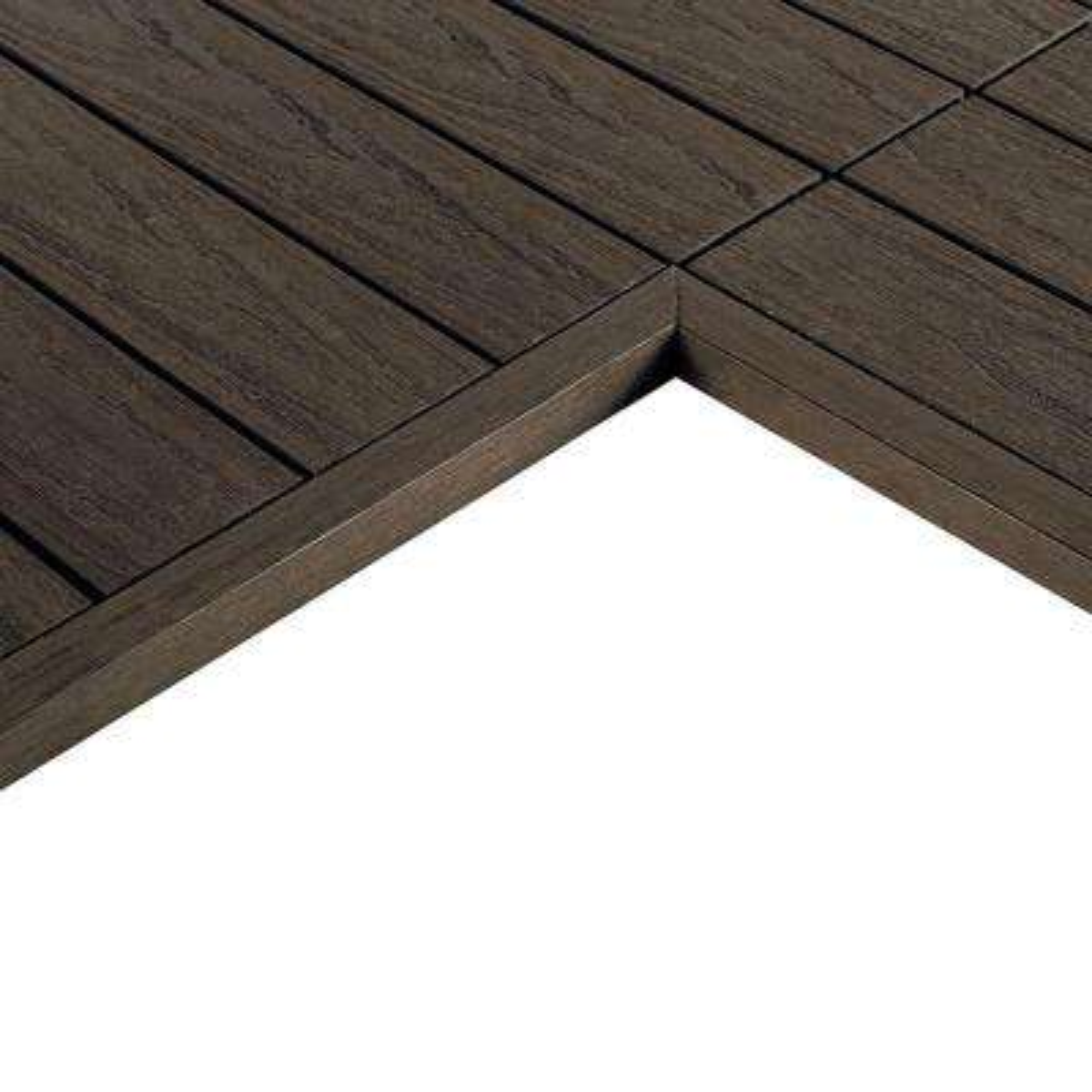 1/6 ft. x 1 ft. Quick Deck Composite Deck Tile Inside End Corner Fascia in Spanish Walnut (2-Piece/Box)