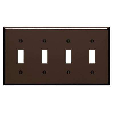 4-Gang 4-Toggle Standard Size Plastic Wall Plate, Brown