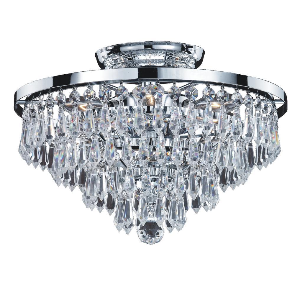 Glow Lighting Vista 6-Light Crystal Teardrop and Chrome F...