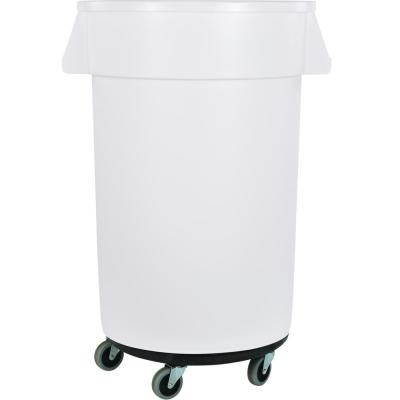 Bronco 44 Gal. White Round Trash Can with Dolly (3-Pack)
