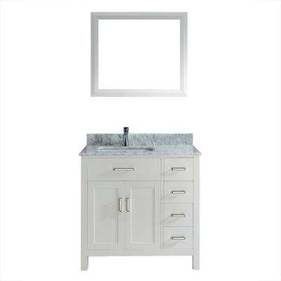 Kalize 36 in. Vanity in White with Marble Vanity Top in Carrara White and Mirror
