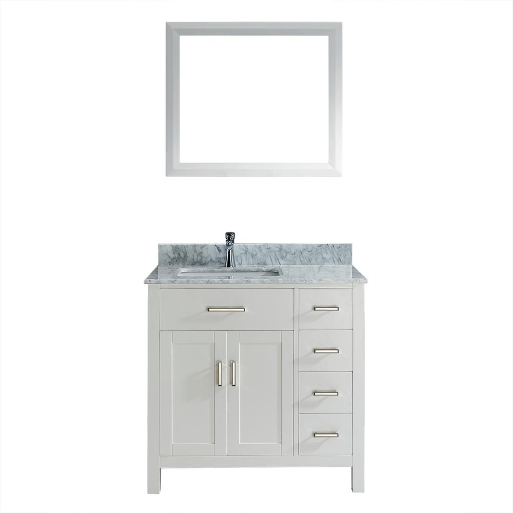 Kalize 36 in. Vanity in White with Marble Vanity Top in