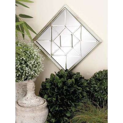 Silver Glass Mirrors With Geometric Pattern Overlays Set Of 4