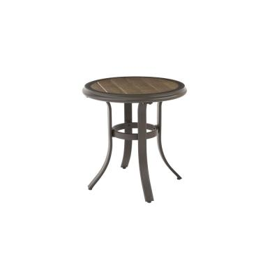 Riverbrook Espresso Brown Round Steel Slat Top Outdoor Patio Side Table