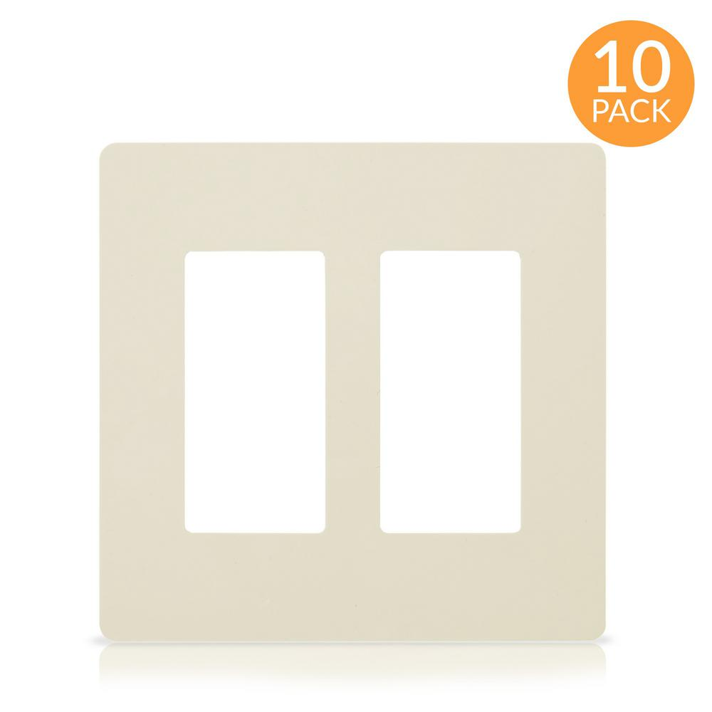 Faith 2-Gang Decorator Screwless Wall Plate, GFCI Outlet/Rocker Switch Cover, Two Gang, Light Almond (10-Pack)