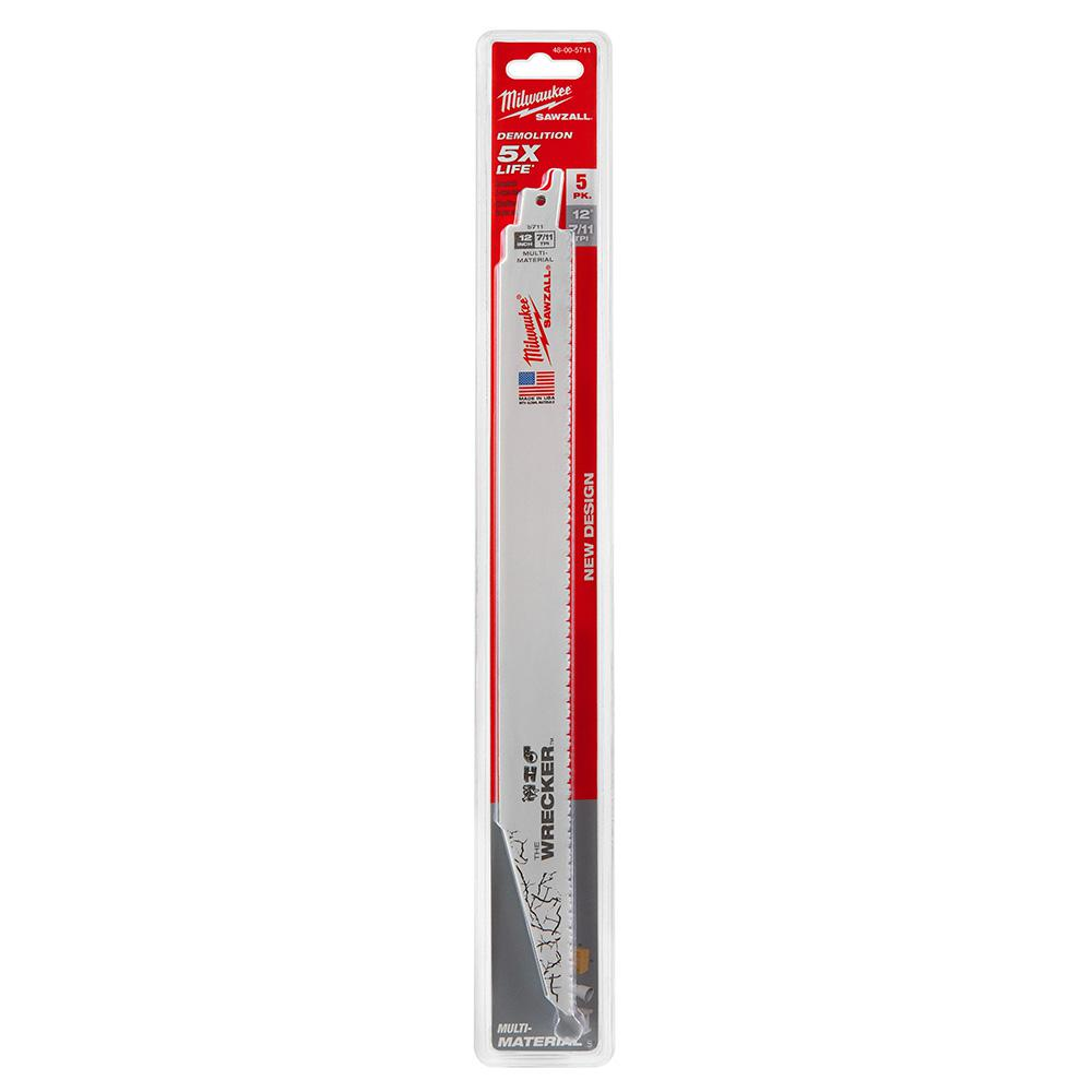 Milwaukee 12 in. 7/11 Teeth per in. Wrecker Demolition Cutting Reciprocating Saw Blade (5-Pack)