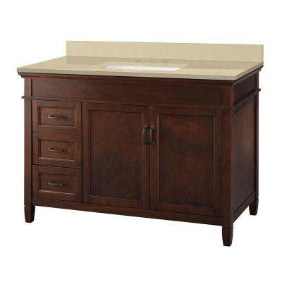 Ashburn 49 in. W x 22 in. D Vanity in Mahogany with Engineered Marble Vanity Top in Crema Limestone with White Sink