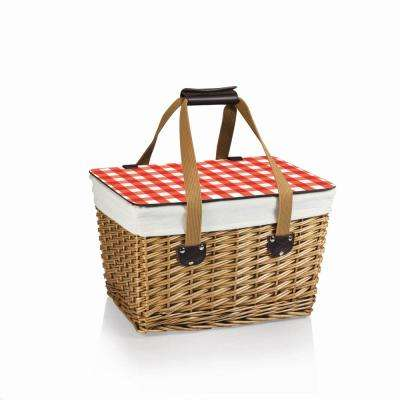 Canasta Natural Wicker Wood Picnic Basket with Red Check Lid