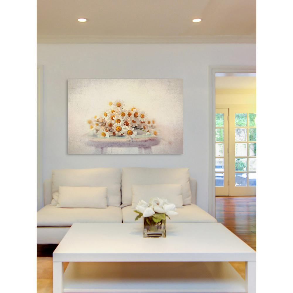 "24 in. H x 36 in. W ""White Daisies"" by Sylvia"