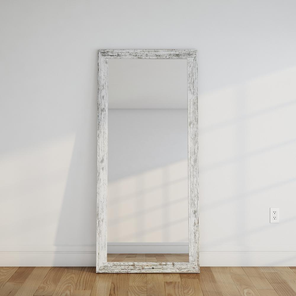 Distressed white barnwood full length floor wall mirror for White mirror