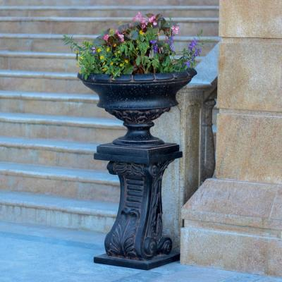 17.75 in. H. Charcoal Cast Stone Low Urn