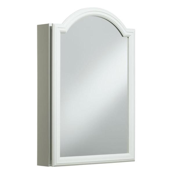Devonshire 20 in. W x 29.5 H. x 5.25 in. D Single Door Recessed or Surface Mount Medicine Cabinet in White