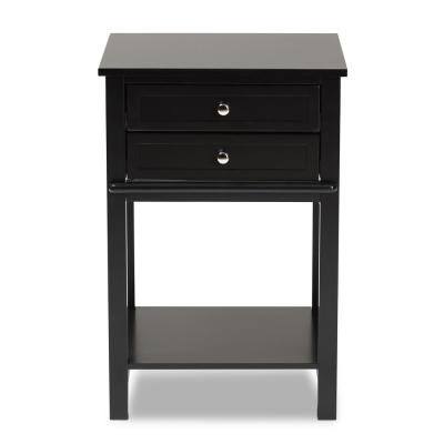 Willow 2-Drawer Black Nightstand