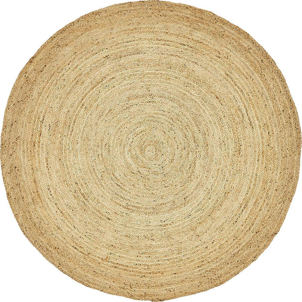 Unique Loom Braided Jute Natural 8 Ft X Round Area Rug