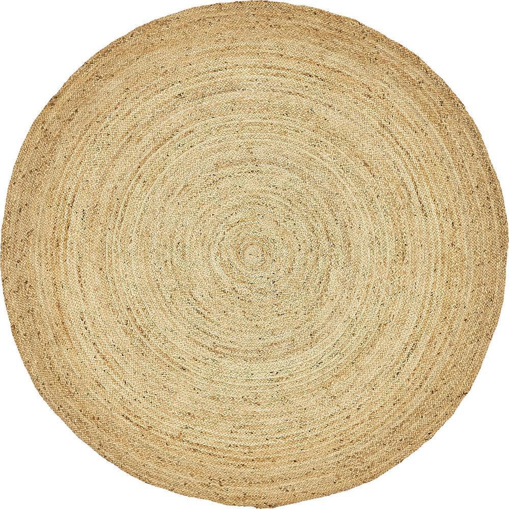 Unique Loom Braided Jute Natural 8 X Round Rug