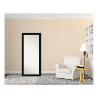 Corvino Black Wood 29 in. W x 65 in. H Contemporary Floor/Leaner Mirror