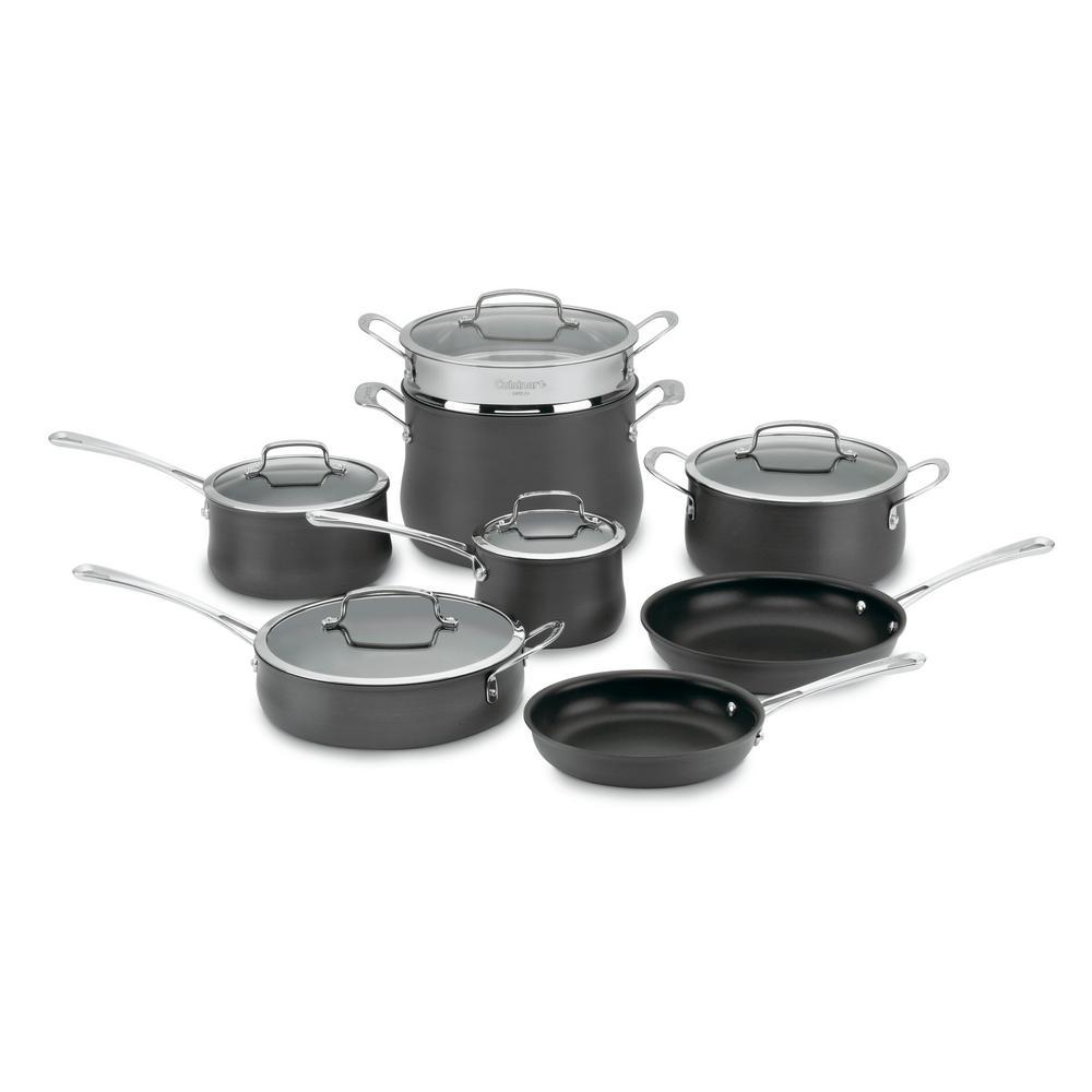 Cuisinart Contour 13-Piece Black Cookware Set with Lids 64-13