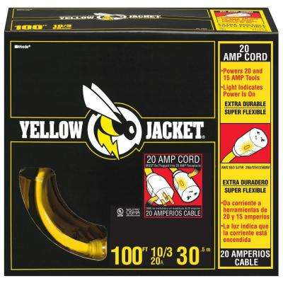100 ft. 10/3 SJTW Lighted T-Blade Heavy-Duty Extension Cord, Yellow