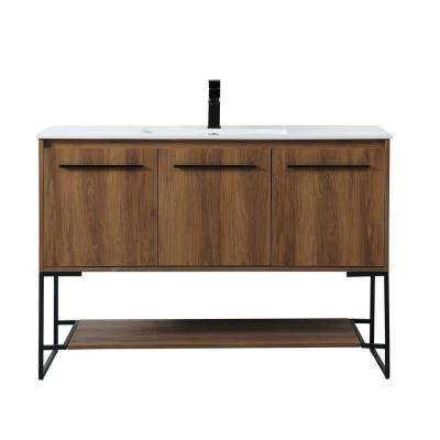 Timeless Home 48 in. W x 18.31 in. D x 33.46 in. H Single Bathroom Vanity in Walnut Brown with Porcelain