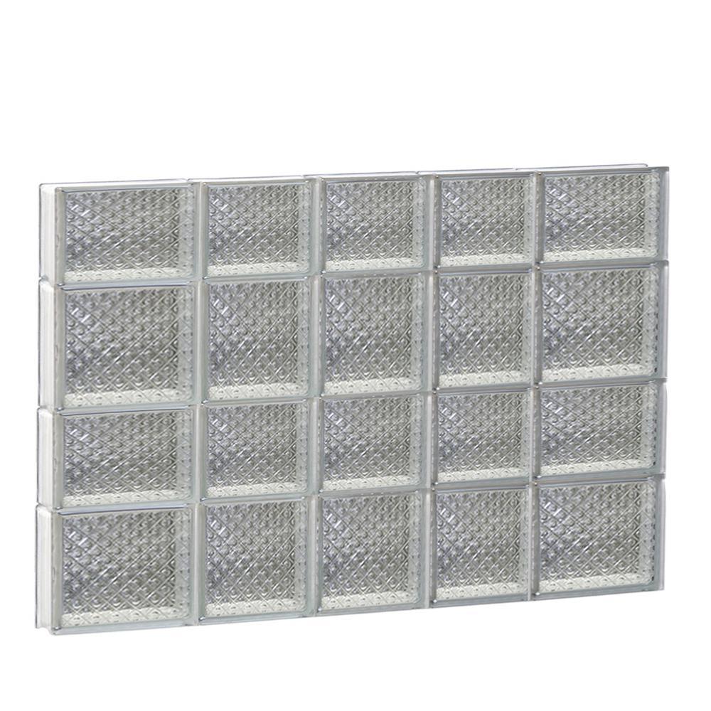 32.75 in. x 25 in. x 3.125 in. Frameless Diamond Pattern Non-Vented Glass Block Window