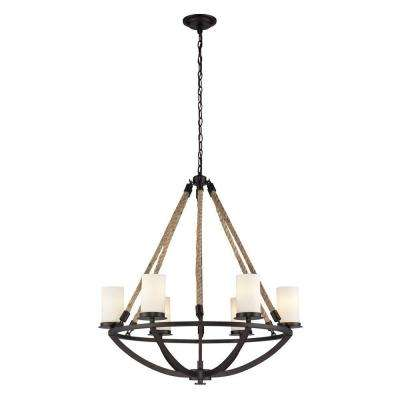 Natural Rope 6-Light Aged Bronze Round Chandelier With White Candle-Glass Shades