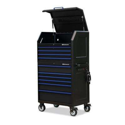 24 in. x 36 in. 10-Drawer Tool Chest and Cabinet Combo with Power and USB Outlets in Black and Blue