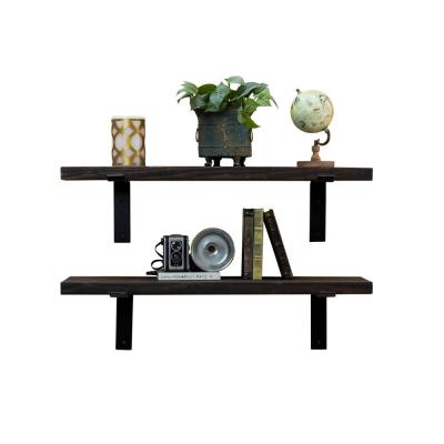 Industrial Bracket 36 in. W x 10 in. D Floating Decorative Shelves (Set of 2)