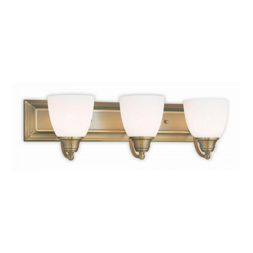 Rockford 3-Light Antique Brass Bath Light with Satin Opal Glass