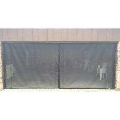 16 ft. x 7 ft. 3-Zipper Garage Door Screen with Rope/Pull