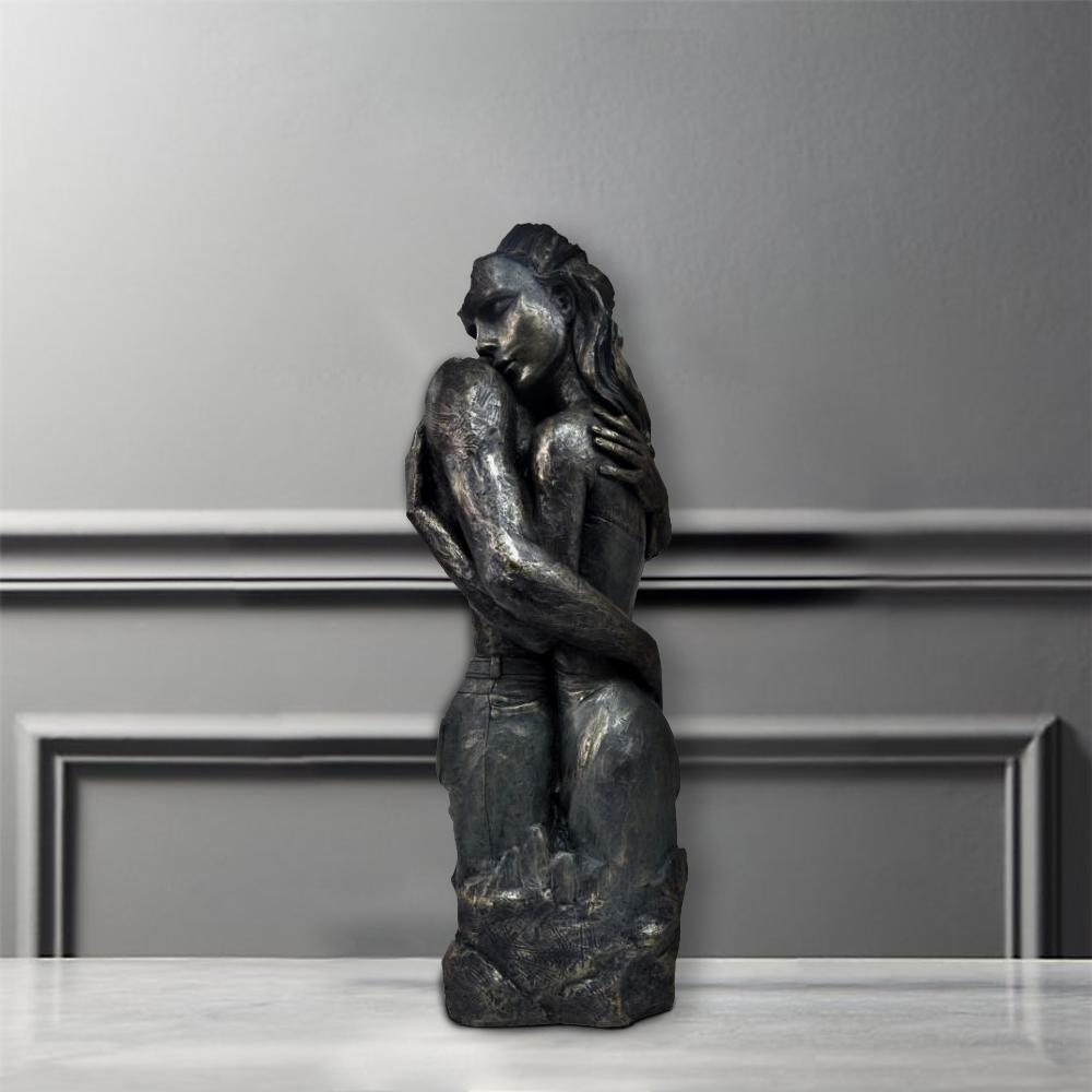 Beautiful Romantic Couple Statue Patina Black Sculpture