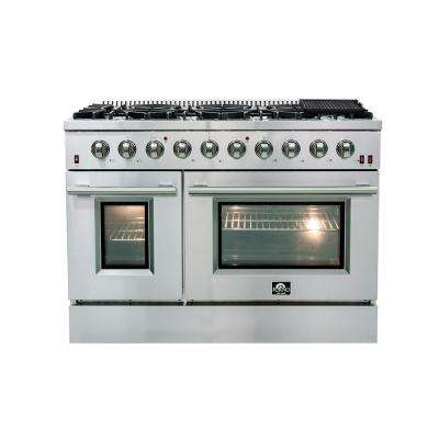 48 in. Galiano Gold Professional Freestanding Gas Range with 8 Defendi Italian Burners Double Oven 6.58 cu. ft. Capacity