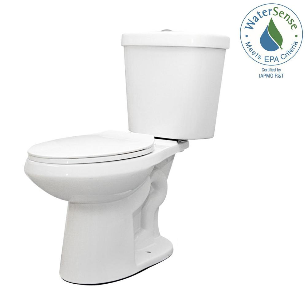 2-piece 1.1 GPF/1.6 GPF High Efficiency Dual Flush Complete Elongated Toilet in White