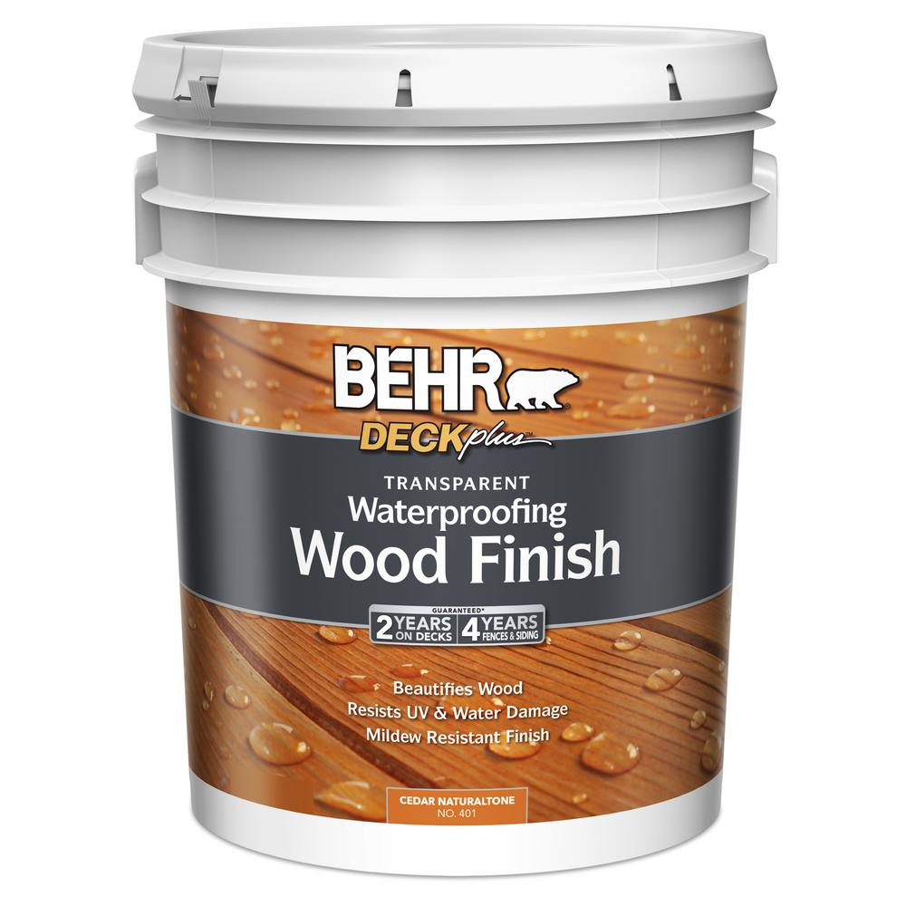 BEHR 5 gal. DECKplus Cedar Naturaltone Transparent Waterproofing Wood Finish